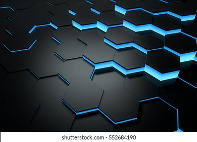 Glowing blue hexagon pattern background. 3D rendering