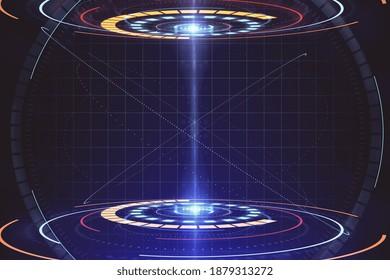 Glowing blue teleportation station hologram. Future technologies concept. 3D Rendering