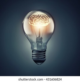 glowing brain inside the bulb, idea concept image