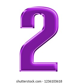 Glowing bright purple plastic number two 2 in a 3D illustration with a shiny glass effect and vivid purple color in a rounded bold type font on white with clipping path