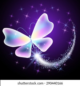 Glowing butterfly with sparkle stars