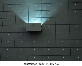 glowing cell in safety deposit box