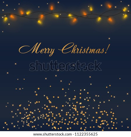Glowing Christmas Lights with colorful garland illumination and golden  decorations with Merry Christmas words. Xmas - Glowing Christmas Lights Colorful Garland Illumination Stock