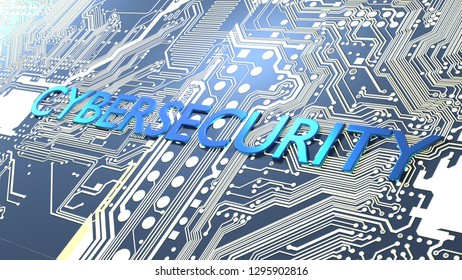 Glowing circuit board and a blue metal word cybersecurity 3D illustration
