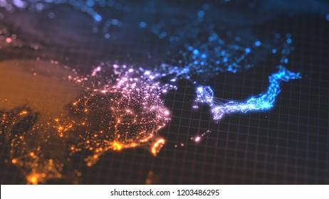glowing city and human population density areas with linear connections between them. view of asia. suitable for technology, future and science themes. 3d illustration