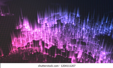 glowing city and human population density areas with rising lines from them. view of europa. suitable for technology, future and science themes. 3d illustration