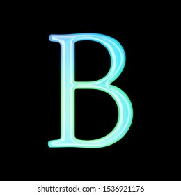 Glowing colorful light blue glass letter B in a type illustration with a bright illuminated neon effect & sunlit blue color in an antique bookletter font on a black background