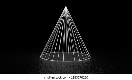 Glowing cone shape on black background. Made with 3d rendering...