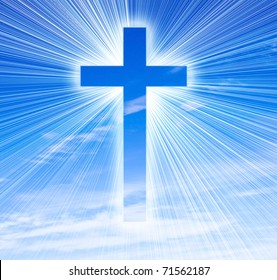 glowing cross on a sky