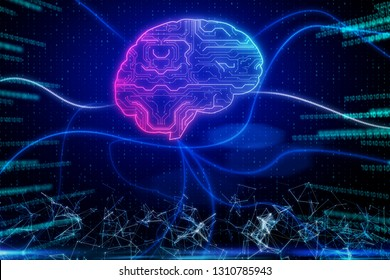 Glowing digital brain on abstract binary code background. Artificial intelligence and future concept. 3D Rendering
