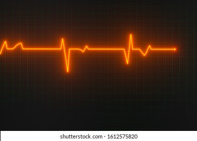 Glowing digital heartbeat line reflecting on the monitor, 3d rendering. Computer digital drawing.