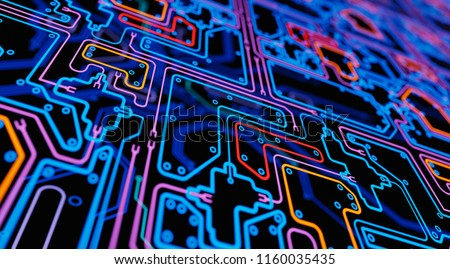 Glowing Digital Scheme Abstract Background. 3D illustration