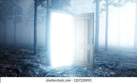 Glowing door in fog night forest. Light portal. Mistic and magic concept. 3d rendering.