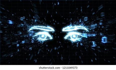 Glowing eyes in explosion of binary data 3D image illustrating spyware, privacy and hacking