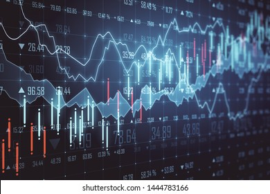 Glowing forex chart on blurry background. Trade and stats concept. 3D Rendering