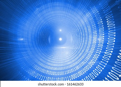 Glowing futuristic binary code spiral on blue background