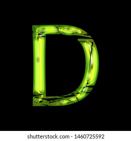 Glowing green shiny glass letter D in a 3D illustration with a bright neon green glow & damaged destroyed font isolated on black background with clipping path