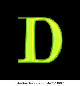Glowing green shiny glass letter D in a 3D illustration with a bright neon green glow and rough edge font type style isolated on black background with clipping path