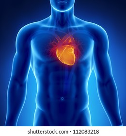 Glowing heart in male chest     **** Also as footage available in my portfolio