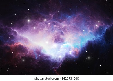 Glowing huge nebula with young stars. Space background, 3d illustration