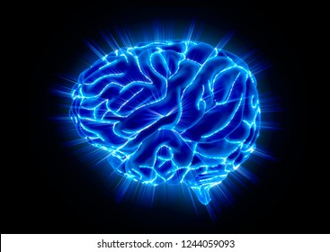 Glowing Human Brain isolated on Black Background. 3D illustration