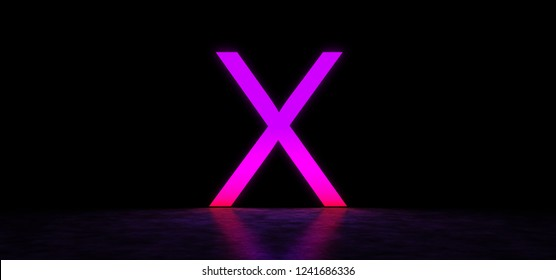 Glowing letter X in dark space. The letter X glows in purple. 3D illustration