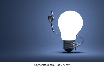 Glowing light bulb character with big metallic hands in moment of insight on blue textured background