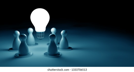 glowing light bulb and chess pawns on dark blue background with copy space, 3d illustration