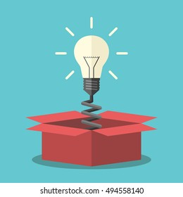 Glowing light bulb on spring appearing from red box. Creativity, innovation and aha moment concept. Flat design