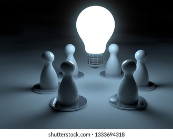 glowing light bulb surrounded by chess pawns on dark background, 3d illustration