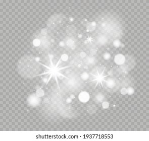 Glowing light effect with many glitter particles. Sparkling magic dust particles. White sparks and stars shine with special light. Christmas abstract pattern.