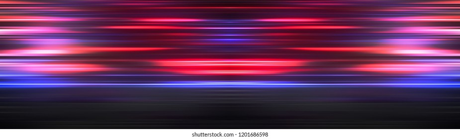 Glowing light stripes in motion over dark ultra wide background. Luminous blurred lines moving fast. Flaring bright streaks. Abstract composition. 3d rendering
