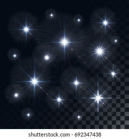 Glowing lights and stars. Isolated on colorful transparent background.  illustration