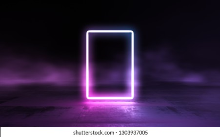 Glowing lines vibrant colors abstract background. Neon pink blue lights in empty space with smoke. 3d render.