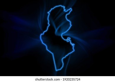Glowing Map of Tunisia, modern blue outline map, on dark Background