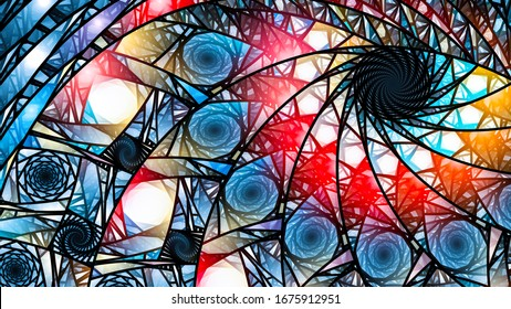Glowing modern colorful stained-glass, computer generated abstract background, 3D rendering