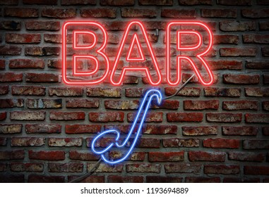 Glowing neon bar sing on a brick wall.