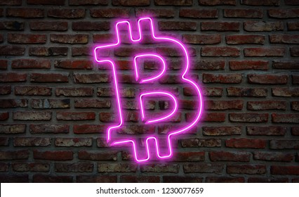 Glowing neon bitcoin sing on a brick wall.