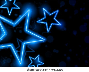 Glowing Neon Blue Stars Background