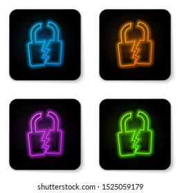 Glowing neon Broken or cracked lock icon isolated on white background. Unlock sign. Black square button