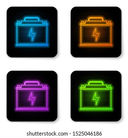 Glowing neon Car battery icon isolated on white background. Accumulator battery energy power and electricity accumulator battery. Lightning bolt symbol. Black square button