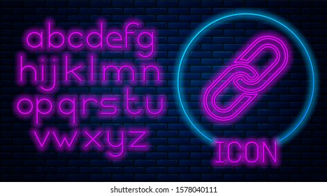 Glowing neon Chain link icon isolated on brick wall background. Link single. Neon light alphabet.