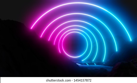 Glowing neon circles on dark background. 3D illustration. Pink and blue design trend