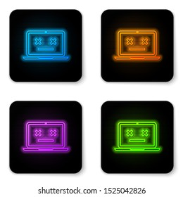 Glowing neon Dead laptop icon isolated on white background. 404 error like laptop with dead emoji. Fatal error in pc system. Black square button