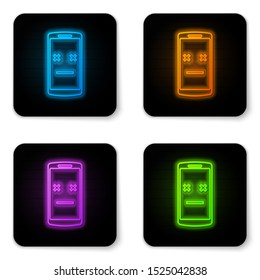 Glowing neon Dead phone icon isolated on white background. Deceased digital device emoji symbol. Corpse smartphone showing facial emotion. Black square button