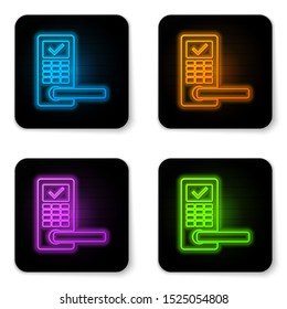 Glowing neon Digital door lock with wireless technology for unlock icon isolated on white background. Door handle sign. Security smart home of concept. Black square button