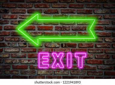 Glowing neon exit sing on a brick wall.