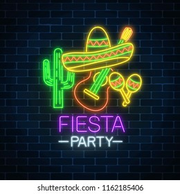 Glowing neon fiesta holiday sign. Mexican festival flyer design with guitar, maracas, sombrero hat and cactus.