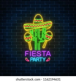 Glowing neon fiesta holiday sign. Mexican festival flyer design with maracas, sombrero hat and cactus.