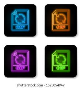 Glowing neon GIF file document icon. Download gif button icon isolated on white background. GIF file symbol. Black square button